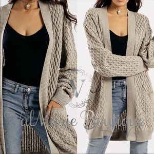 Knitted Taupe Cardigan