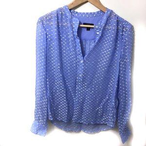 J. Crew Blue Silk Blend Dash Dot Blouse Size 2