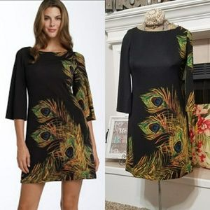 Must 3/4 sleeve feather print Ponte knit dress