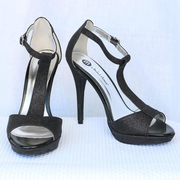 9e9e1ab4d485d MICHAEL ANTONIO Black Glitter T-Strap Heel