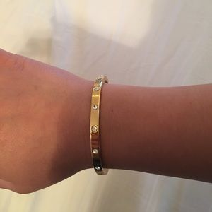 Kate Spade Jewelry Gold Set In Stone Hinge Bangle Poshmark