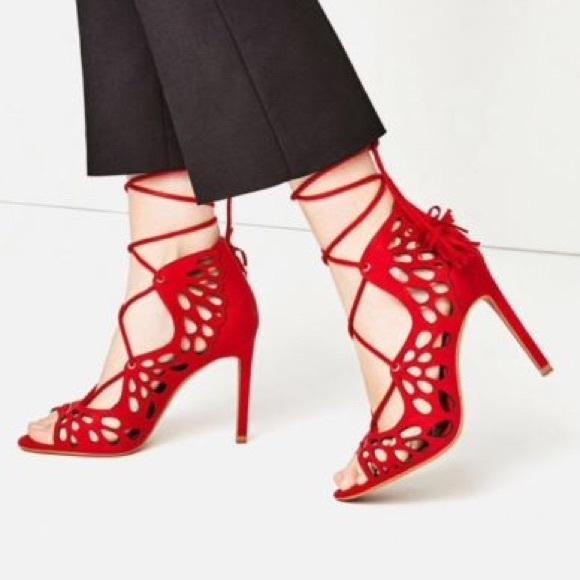 62af2fe6f43a Zara Red Openwork High Heel Lace Up Sandals