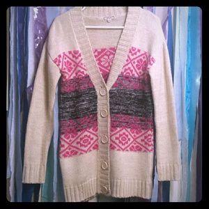 Nordic print tunic cardigan ugly sweater