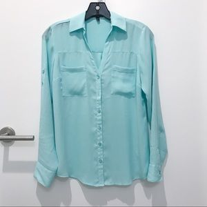 Express Portfolio Shirt Blouse in Tiffany Blue