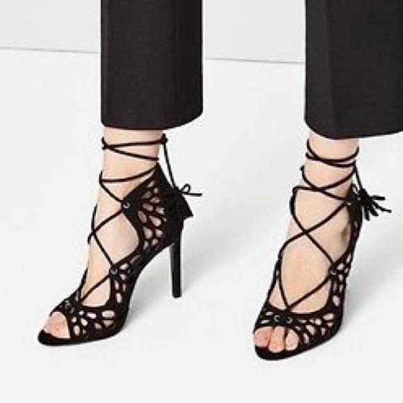 8de8554d3ce Zara Black Openwork High Heel Lace Up Sandals