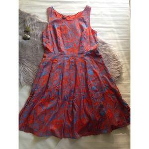 Talbots blue orange Hawaiian style fit flare dress