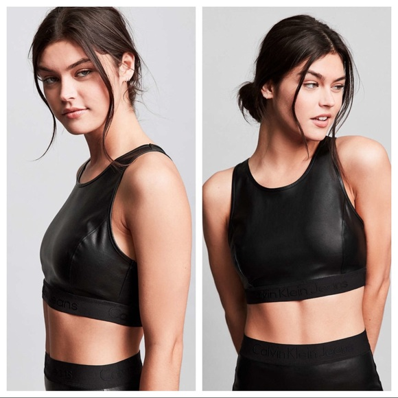 fdd8f2cc66 Urban Outfitter Calvin Klein Veg. Leather Crop Top