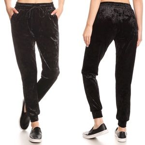 Pants - Crushed Velvet Black Joggers Pants Pockets COMFY