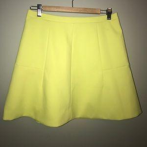 JCrew lime green flare skirt - size 6