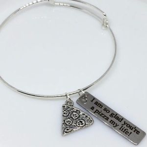 Jewelry - Silver Pizza Bangle Charm Bracelet