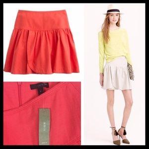 j. crew // linen swish mini skirt coral pink NWT