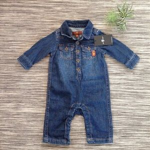 🆕 7 For All Mankind denim boys coverall, 0-3M