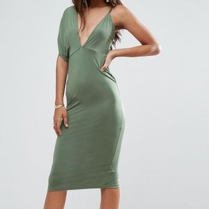 Olive green one shoulder bodycon dress
