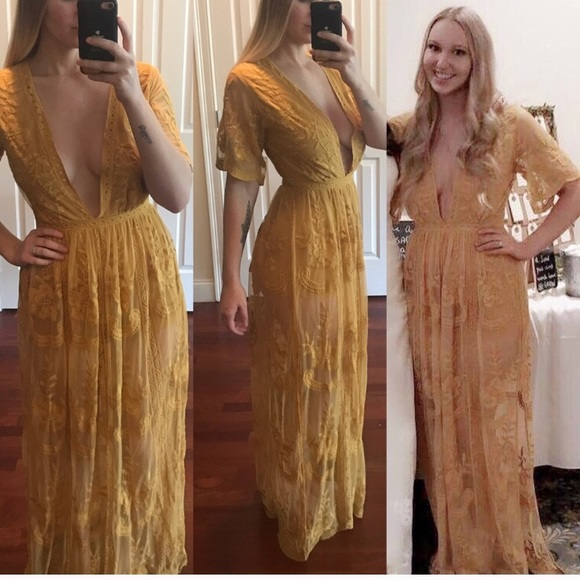 25050a88b2e3 Honey Punch Dresses   Skirts - Mustard Maxi Lace Romper -- Honey Punch brand