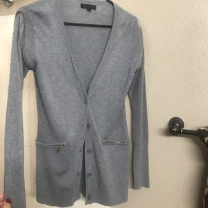 Grey cardigan with gold zipper detail Sz Large