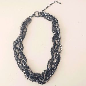 Gunmetal entwined Statement Necklace