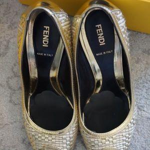 Fendi gold heels size 38