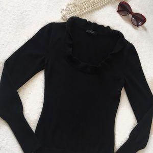 Sweaters - Black 100% Cashmere Ruffle Collar Sweater