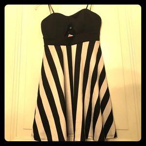 🎃NWT Deb Black & White Striped Strapless Dress