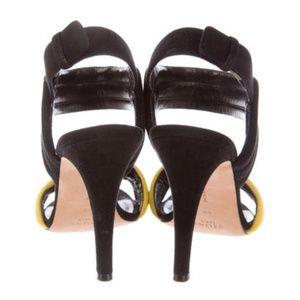 8785e0696c4d Celine Shoes - Celine Black White and Yellow Sandals Heels 40 9