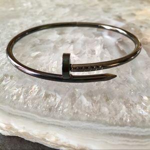Black Gunmetal Nail Bracelet Love Cuff Bangle
