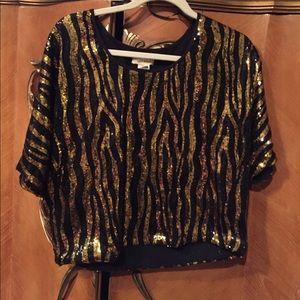 Sans Souci Black & Gold Striped Sequin Top