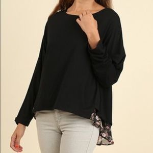 Tops - Black top with floral layer underneath bottom