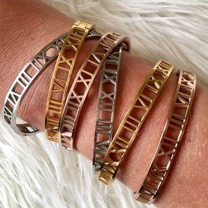 Roman Numeral Rose Gold Bracelet Cuff Bangle