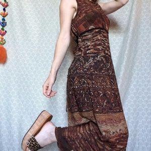 Carole Little Dresses - Vintage Lady's Mountain Goddess Lounge Maxi