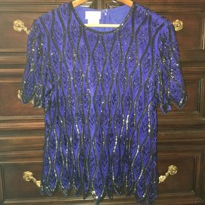 Vintage Sequin Stenay Blouse Black and Royal Blue