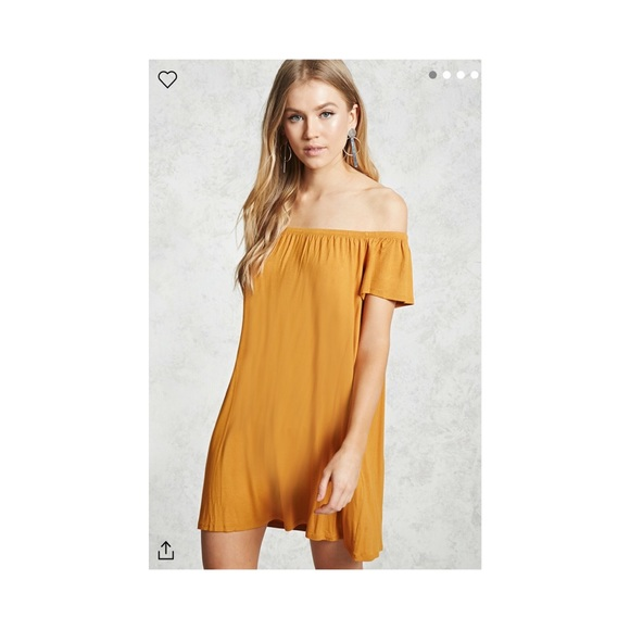 f01a010ac8e7 Forever 21 Dresses   Skirts - Forever21 Yellow Mustard off the shoulder  dress.