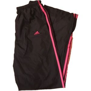 ADIDAS BLACK PINK SMALL ATHLETIC WORKOUT PANTS