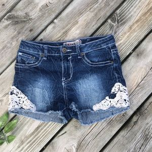 1st Kiss Girl's Denim & Lace Shorts