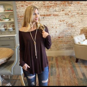 Brown vintage wash Long sleeve tunic