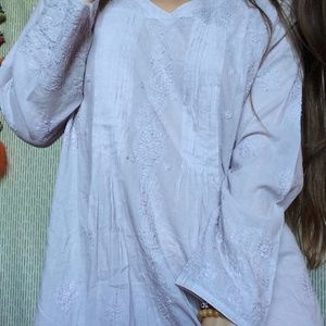 Vintage Tops - Cotton Lavender Tunic Embroidered