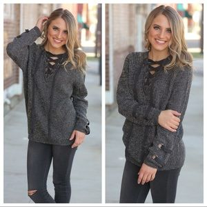 Charcoal blended lace up sweater