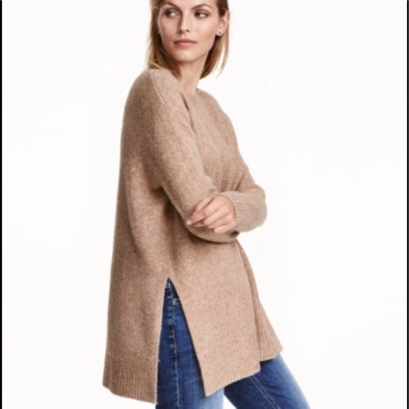 c1ef4a87965 H&M Sweaters | Camel Color Wool Blend Oversized Tunic Sweater | Poshmark