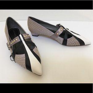 ZARA Studded Ballerinas Grey Satin Flats Heels