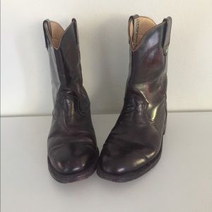 Western Boots Leather Two Tone Black Oxblood 8.5