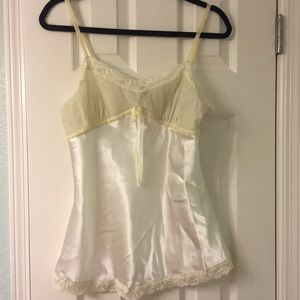 Classic ivory velvet and satin look cami blouse