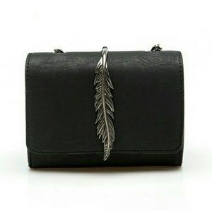 Handbags - Black Feather Shoulder/Crossbody Bag
