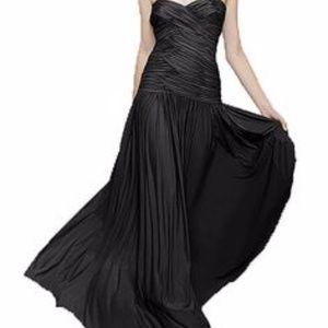 ANAMARIA Navy Draped/Ruche strapless gown Medium