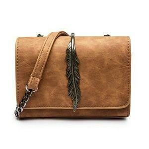 Handbags - Brown Feather Shoulder/Crossbody Bag