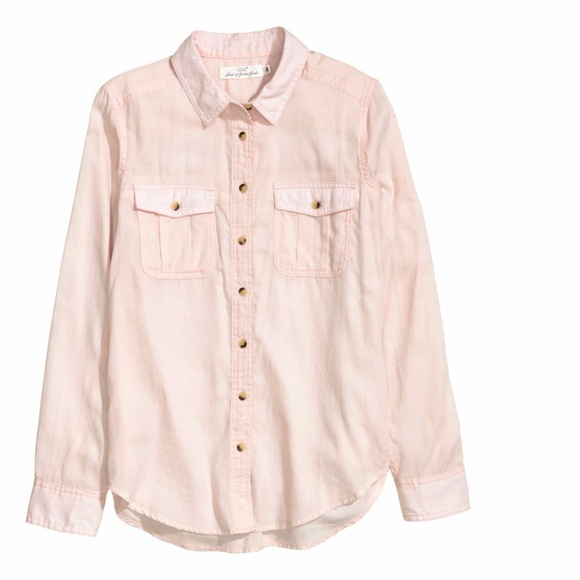 47% off H&M Tops - New Powder Pink Blush Cotton Button Down Shirt ...