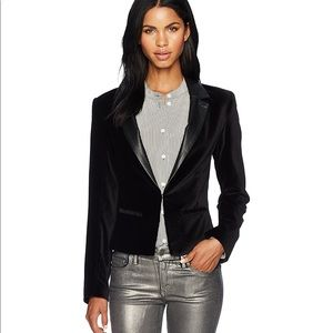 Paige Leather/Velvet Camilia Jacket-Black, Small