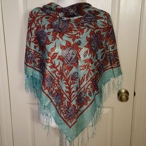 Accessories - Floral Rose Cotton Shimmery Shawl Scarf