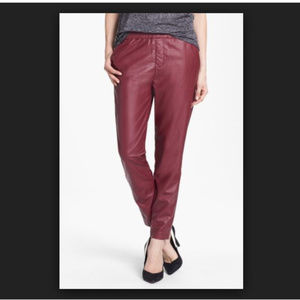 NWT Piper faux leather track pants in burgundy