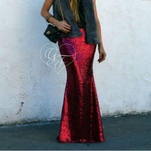 Dresses & Skirts - Red sequin maxi skirt
