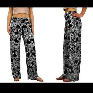 Black and white floral palazzo pants