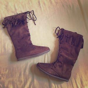 Shoes - Calf-high Mocassin Boots in Cognac